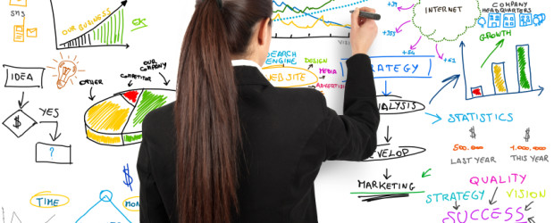 Businesswoman draw modern business concept